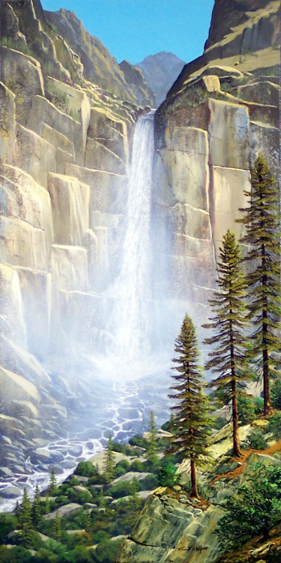 waterfalls, Great Falls, oil painting by Frank Wilson